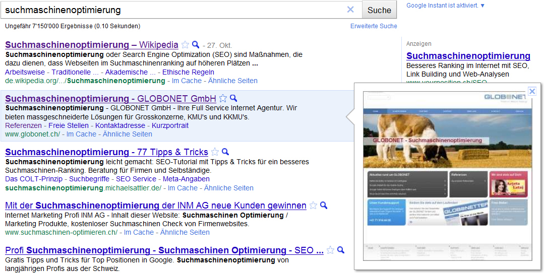 Google Instant Preview suchmaschinenoptimierung
